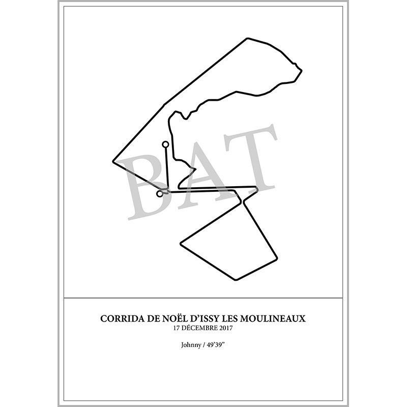 Aperçu de l'affiche représentant le tracé de la corrida de noël d'Issy les Moulineaux 2017 par Print Your Race