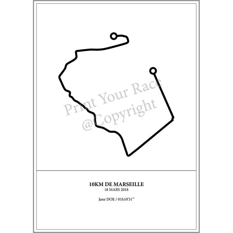 Aperçu de l'affiche représentant le tracé des 10KM de Marseille 2018