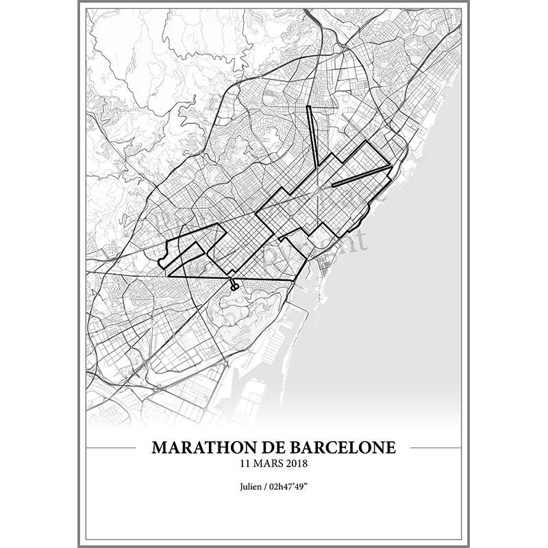 Aperçu de l'affiche réalisée en collaboration avec le cartographe représentant le tracé du marathon de Barcelone 2018