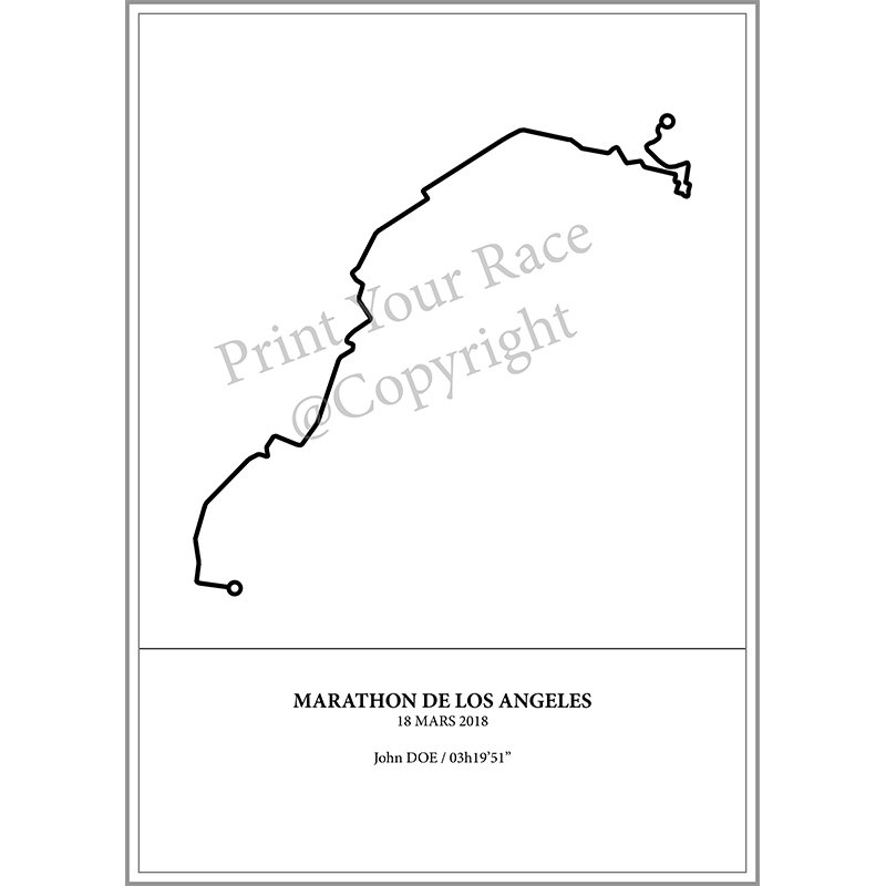 Aperçu de l'affiche représentant le tracé du marathon de Los Angeles 2018