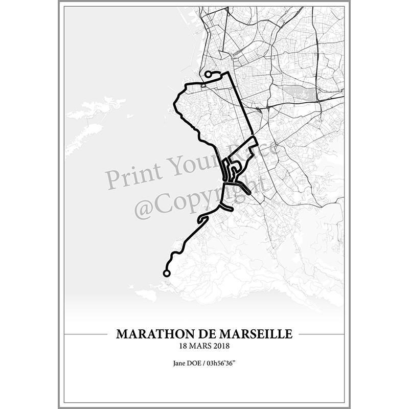 Aperçu de l'affiche réalisée en collaboration avec le cartographe représentant le tracé du marathon de Marseille 2018
