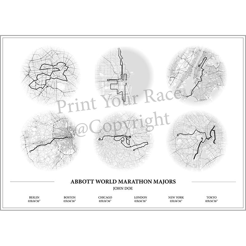 Aperçu de l'affiche réalisée en collaboration avec le cartographe représentant les tracés des abbots World marathon majors par Print Your Race