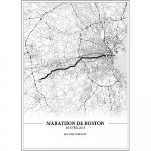 Aperçu de l'affiche réalisée en collaboration avec le cartographe représentant le tracé du marathon de Boston 2018