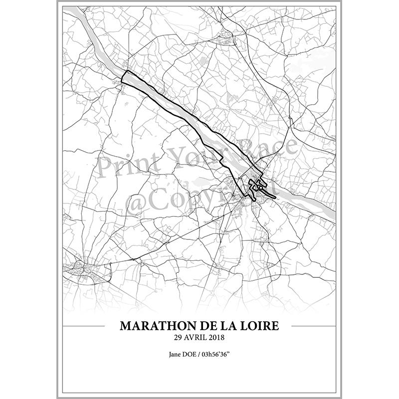 Aperçu de l'affiche réalisée en collaboration avec le cartographe représentant le tracé du marathon de la Loire 2018 par Print Your Race