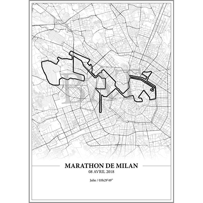 Aperçu de l'affiche réalisée en collaboration avec le cartographe représentant le tracé du marathon de Milan 2018