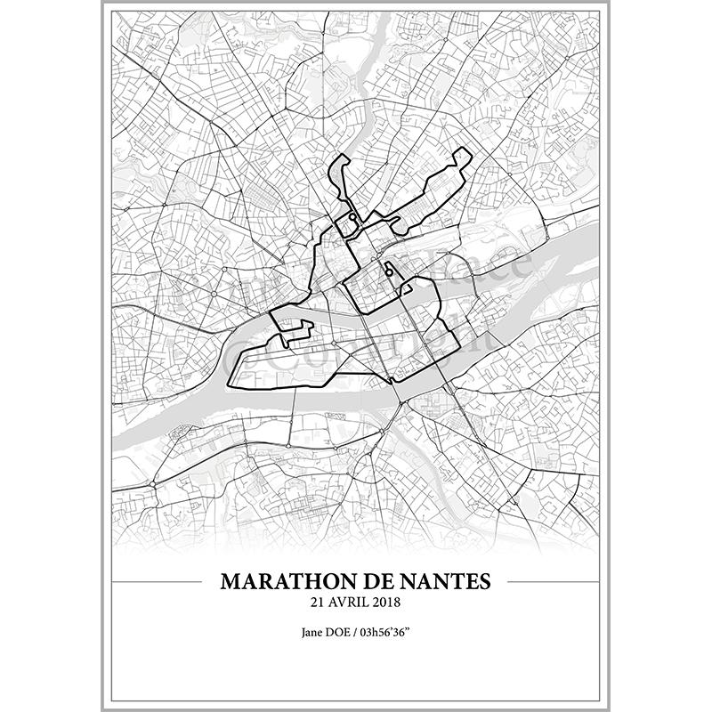Aperçu de l'affiche réalisée en collaboration avec le cartographe représentant le tracé du marathon de Nantes 2018 par Print Your Race