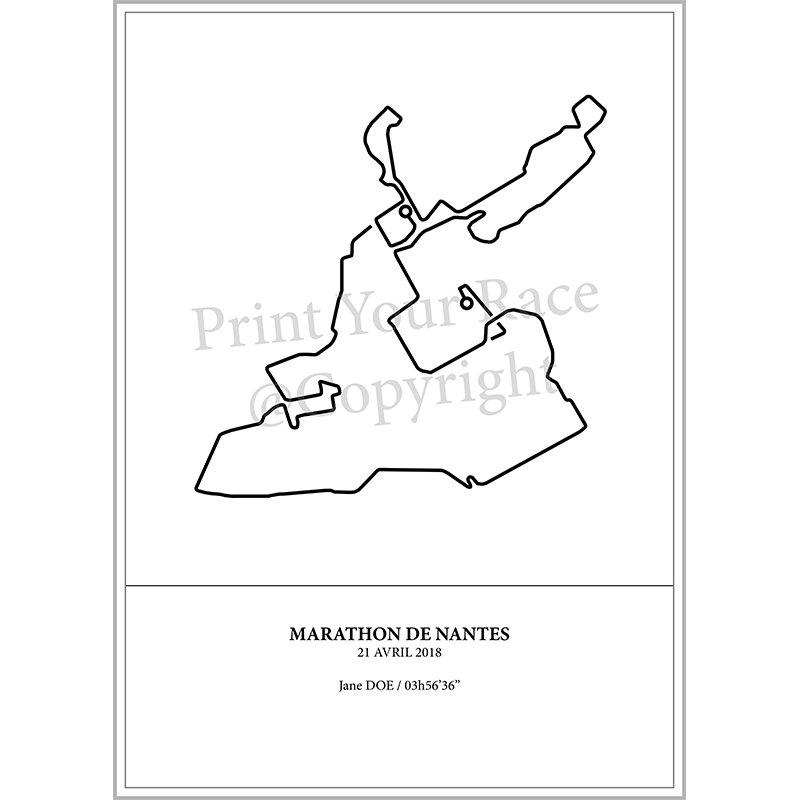 Aperçu de l'affiche représentant le tracé du marathon de Nantes 2018 par Print Your Race