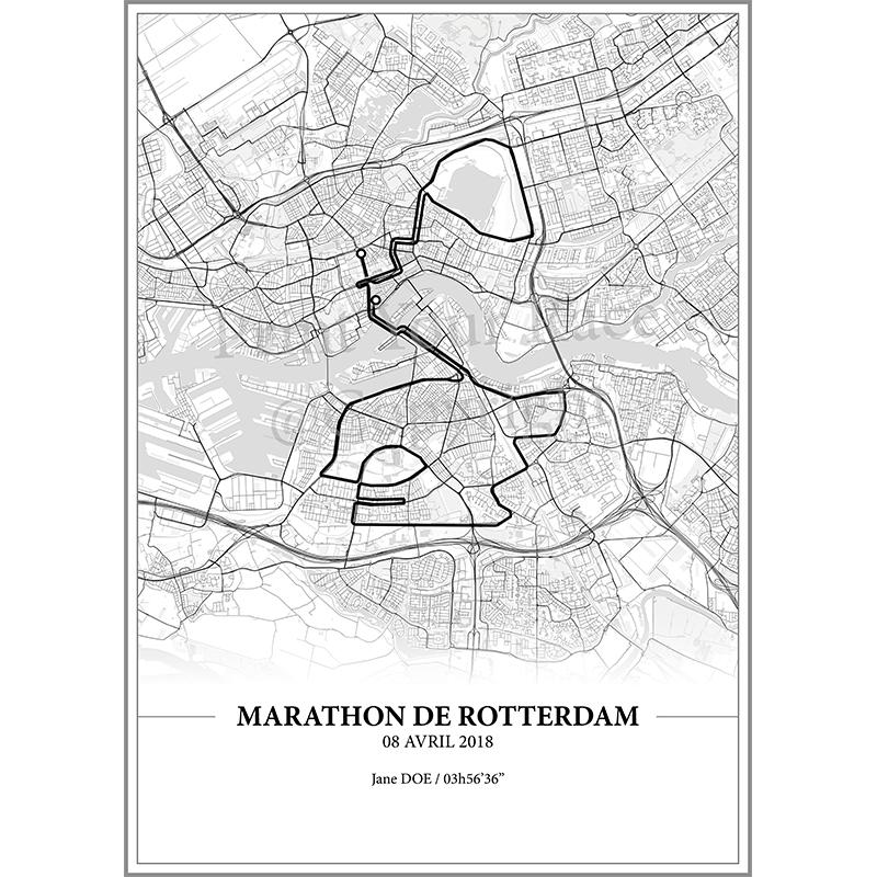 Aperçu de l'affiche réalisée en collaboration avec le cartographe représentant le tracé du marathon de Rotterdam 2018 par Print Your Race