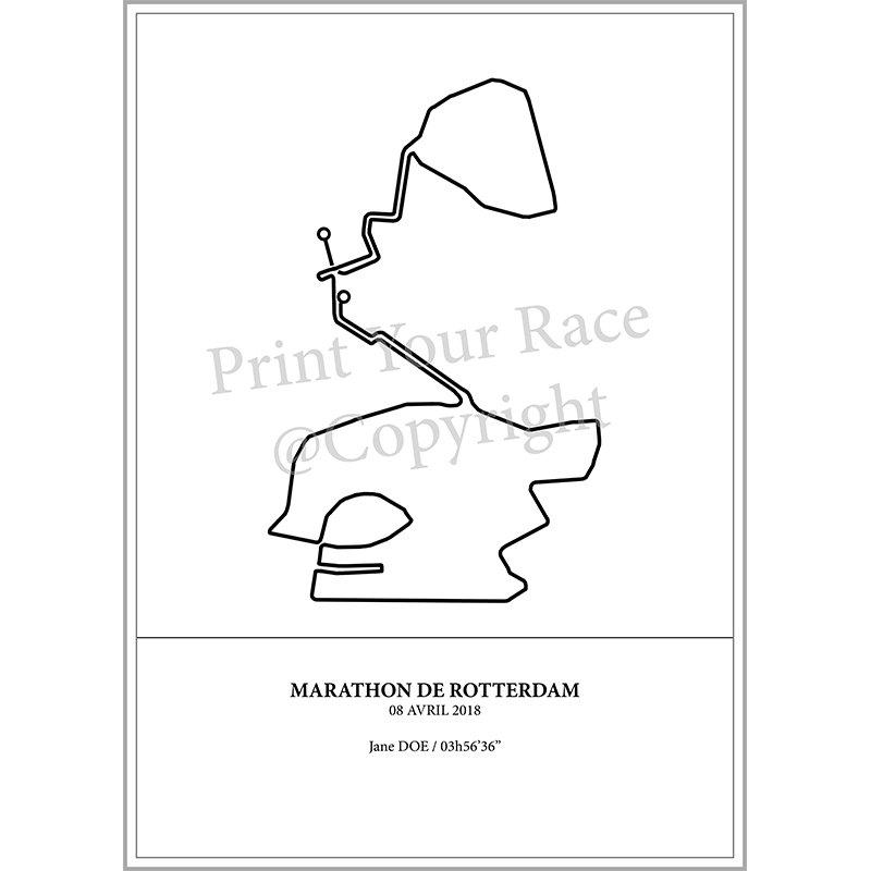 Aperçu de l'affiche réalisée représentant le tracé du marathon de Rotterdam 2018 par Print Your Race