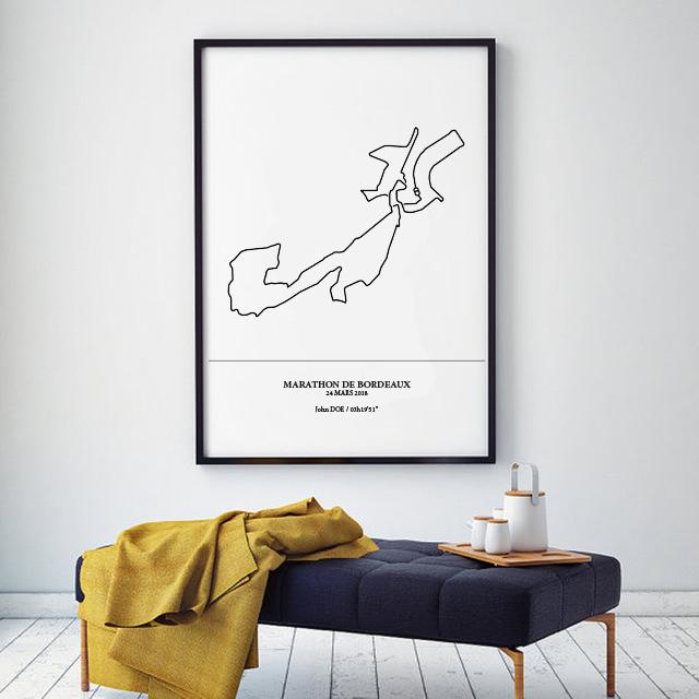Aperçu de l'affiche encadrée représentant le tracé du marathon de Bordeaux 2018