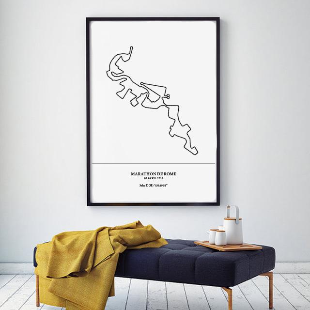 Aperçu de l'afficheencadrée représentant le tracé du marathon de Rome 2018