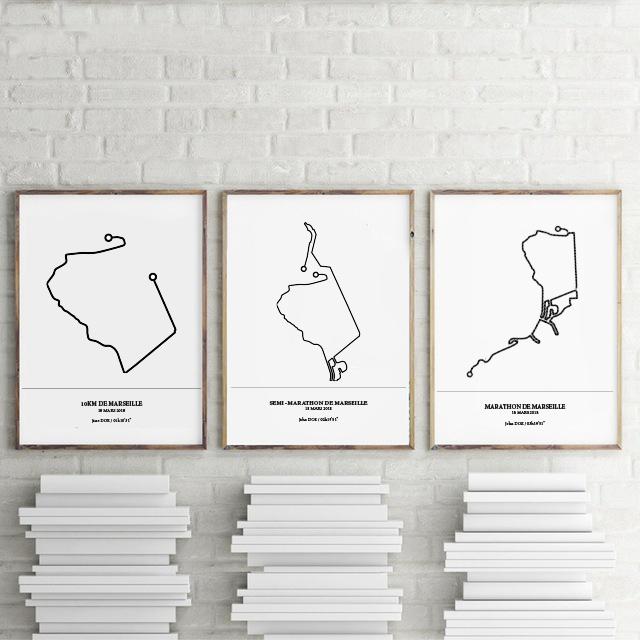 Aperçu de trois affiches représentant les tracés du marathon, semi-marathon et 10KM de Marseille