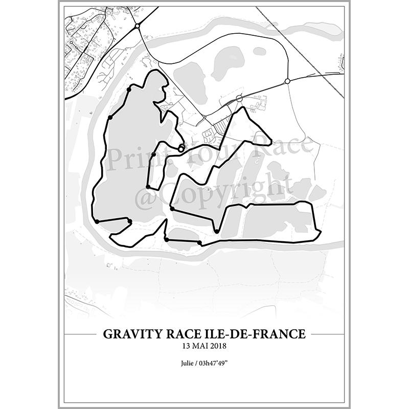 Aperçu de l'affiche réalisée en collaboration avec le cartographe représentant le tracé de la Gravity Race d'Ile de France par Print Your Race
