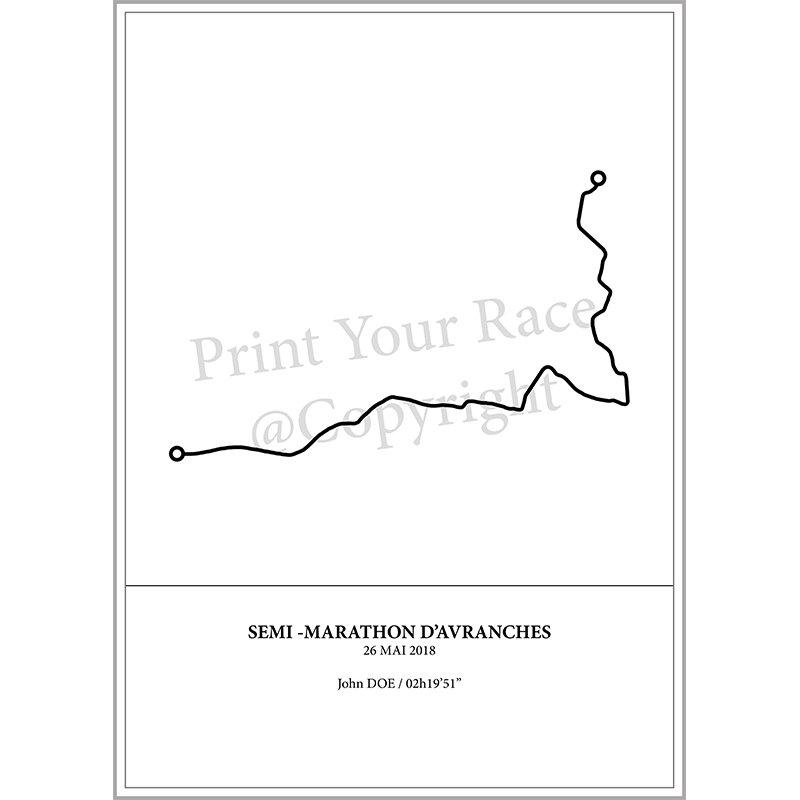 Aperçu de l'affiche représentant le tracé du semi marathon d'Avranches 2018 par Print Your Race