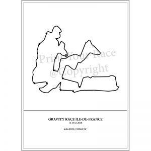 Aperçu de l'affiche représentant le tracé de la Gravity Race d'Ile de France par Print Your Race