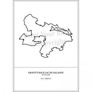 Aperçu de l'affiche représentant le tracé de la Gravity race du lac du Salagou 2018 par Print Your Race