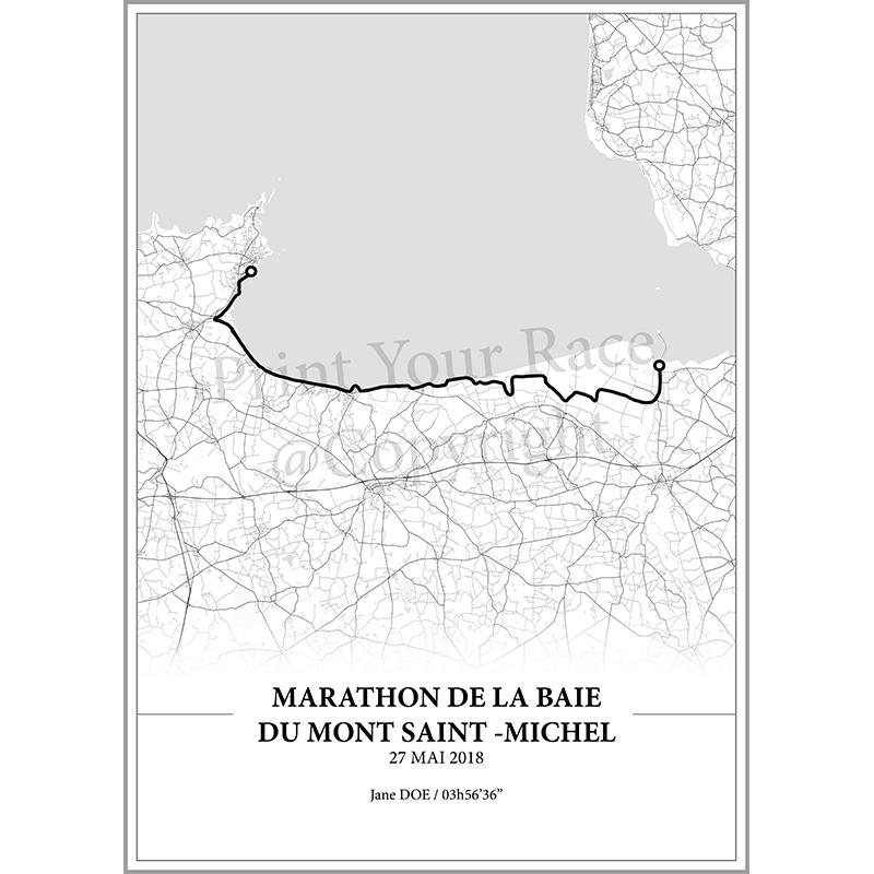 Aperçu de l'affiche réalisée en collaboration avec le cartographe représentant le tracé du marathon de la Baie du Mont Saint-Michel par Print Your Race